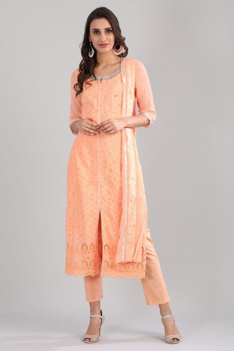 orange-round-neck-embellished-kurta-set